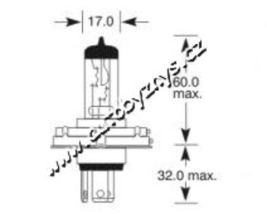 Žárovka 12V H4 asym.100-80W P45t-41 ELTA(3324)