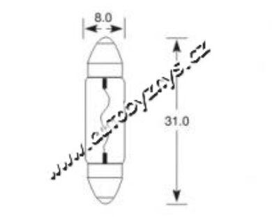 Žárovka 12V 5W SV7 8x28 ELTA(3467)