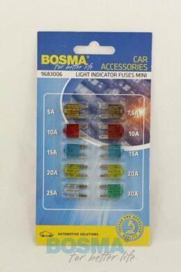 Sada mini plochých pojistek s LED diodou 10ks BOSMA(LED2645)