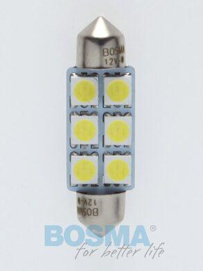 12V LED žárovka sufit SV8,5 12x39 6xLED SMD 5050 bílá BOSMA blistr 2ks(LED3833)