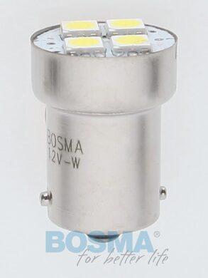 12V Ba15s LED žárovka 4xLED SMD 5050 bílá BOSMA blistr 2ks(LED3048)