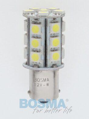 12V Ba15s LED žárovka 24xLED SMD 5050 bílá BOSMA blistr 2ks(LED3086)