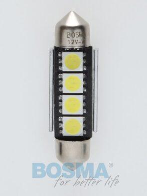 12V LED žárovka sufit SV8,5 12x39 4xLED SMD 5050 CANBUS bílá BOSMA blistr 2ks(LED3789)