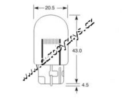 Žárovka 12V 21W W3x16d celosklo(4650)