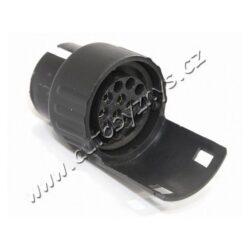Adaptér ze 7pólové zásuvky na 13pólovou 07441-Plastový adaptér (redukce), použití pro vozidlo se 7-mi pólovou zásuvkou a přívěs s 13-ti konektorovou zástrčkou. Max. napětí: 12-24V.