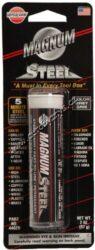 Magnum - Epoxy ocel a kov Magnum Steel 57g Versachem-Magnum - Epoxy ocel a kov. Dvousložkový epoxy tmel pro rychlé a trvalé opravy poškozených a rozlomených předmětů. Má vynikající plnicí vlastnosti - spolehlivě přilne a vytvrdne v pevnou hmotu, která se nesmršťuje a dá se mechanicky opracovávat (brousit, vrtat, natírat). Spoje a výplněodolávají vlhkosti, působení chemikálií a teplotám v rozmezí -40 až 121°C  TMEL NA OPRAVU DÍLŮ Z:  oceli, železa a litiny, hliníku, mědi, mosazi, dřeva, skla, keramiky a většiny druhů plastických hmot. Barva výplně: kovově šedá Tyčinka 57g.