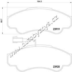 Brzdové destičky přední Citroen,Fiat,Peugeot TEXTAR-uzaviraci vystrazny kontakt: s integrovanym kontaktem vystrahy opotrebeni tloustka/sila( v mm): 19 Sirka v mm: 164,5 vyska ( v mm ): 68,7 brzdovy system: Brembo