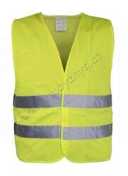 Vesta výstražná žlutá EN 20471:2013-Výstražná reflexní vesta (ochranný oděv s vysokou viditelností) se zapínáním na suchý zip. Dva reflexní pruhy po celém obvodu, žlutá barva.Vesta se obleče na stávající oděv tak, aby žádná její část nebyla překryta jinými částmi oděvu a na přední straně se zapne pomocí suchého zipu.