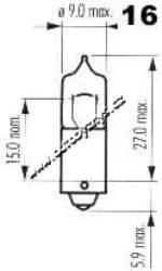 Žárovka 12V 20W halogen Ba9s oranžová