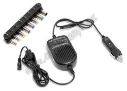 Cestovní zdroj NOTEBOOK 12V UNI-Univerzální zařízení pro napájení a dobíjení notebooků s napájecím napětím v rozmezí 15 - 24 V=. Napájení zdroje pomocí zástrčky automobilového zapalovače 12V=. Součástí balení je sada univerzálních adaptérů pro širokou škálu notebooků. Technická data: vstup: 11-14V=; výstup: 15V, 16V, 18V, 19V, 20V= / max 3,5A; 22V, 24V= / max 70W.