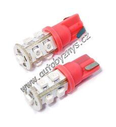 Žárovka 12V 9LED T10 červená 2ks-SLEVA 55%