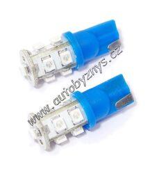 Žárovka 12V 9LED T10 modrá 2ks-SLEVA 29%