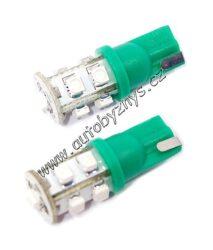 Žárovka 12V 9LED T10 zelená 2ks-SLEVA 50%