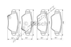 Brzdové destičky zadní Opel Bosch-uzaviraci vystrazny kontakt: s akustickou vystrahou opotrebeni tloustka/sila( v mm): 16,8 Sirka v mm: 104,9 vyska ( v mm ): 42,5 brzdovy system: Bosch