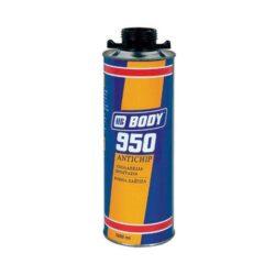 """Ochrana podvozku a karoserie BODY 950 1L přelakovatelný-bílý-Izolační hmota na bázi kaučuku k ochraně proti hluku a korozi spodních, vnitřních a vnějších částí karoserie. Aplikuje se na nazákladované povrchy, rychle schne a po zaschnutí je přelakovatelná jakýmkoliv systémem nebo ihned po nástřiku """"mokré na mokré\ barvami Delux. Vytváří charakteristickou strukturu – krupici./br1-litrové balení je připraveno k použití stříkací pistolí, kterou našroubujeme na plechovku."""