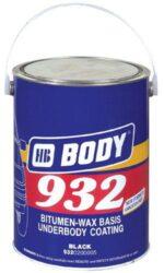 Ochrana podvozku a karoserie BODY 932 4kg - nepřelakovatelný černý-Tixotropní izolační hmota na bázi umělých pryskyřic, kaučuku, asfaltu a vosku k ochraně proti hluku, korozi a mechanickému poškození podvozku. Nanáší se stříkací pistolí nebo štětcem na nazákladovaný povrch nebo na staré asfaltové nátěry. Ředí se 20-30%  Nitro ředidlem. Schne rychle, nepraská, dobře vyplňuje póry a zůstává elastická v teplotách od -20°C do +60°C. Nedá se lakovat, protože obsahuje asfalt a vosk.