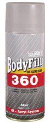 Plnič BODY 360 2K sprej - 400 ml - šedý-2K rychleschnoucí akrylátový šedý plnič a antikorozní základ ve spreji. Je vhodný na kovové i dřevěné povrchy. Zaplňuje dobře malé nerovnosti a rýhy (probroušené hrany)