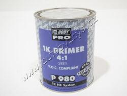 Plnič 1K Body 980 Filling primer 1L -šedý-Jednosložkový základový plnič na bázi alkydových pryskyřic, pod všechny druhy barev. Nanáší se stříkací pistolí (průměr trysky 1,5–1,8 mm) v 1 vrstvě na obroušené povrchy. Ředí se 25 % BODY 767 ECO nebo AKRYLÁTOVÝM ŘEDIDLEM 740. Schne za 30 min/23°C, brousí se za sucha P 320-500 nebo za mokra P 600–1000.