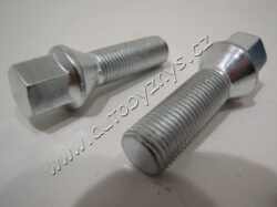 Šroub kola UNI M14x1,5 závit 38mm kuželové sedlo - silver