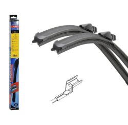 Stěrače FLAT SET (CUBE) 610+410mm 10582-Sada dvou plochých stěračů FLAT (řidič + spolujezdec) se speciálním uchycením. Délky stěračů a systém uchycení na ramínko jsou přizpůsobeny vybraným vozům (viz tabulka použití).  Vysoce kvalitní pružný člen plochého stěrače zajišťuje stejnoměrný tlak grafitového břitu v celé jeho délce, což zamezuje rozmazávání nečistot a vytváření pruhů.