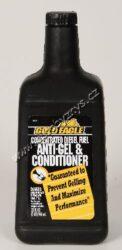 Diesel aditiv zimní - Diesel Fuel Anti-Gel & Conditioner 946ml Gold Eagle-Koncentrovaný diesel aditiv zimní (na 950 l phm). Přípravek udržuje v čistotě vnitřní prostory diesel motorů. Absorbuje vodu, která se v palivové soustavě vytváří kondenzací, odstraňuje veškeré nečistoty z trysek a ventilů. V zimním období zabraňuje houstnutí a gelovatění nafty (vylučování parafinových částic, které ucpávají palivový filtr a soustavu) a tím podporuje snadné nastartování. Optimalizuje spotřebu paliva, snižuje kouřivost motoru. Dávkuje se v poměru 1:1000, obsah lahve stačí k ošetření 950 litrů paliva, přičemž sníží teplotní bod houstnutí nafty až o 16°C.
