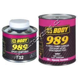 Základová epoxidová barva EPOXY PRIMER 989 - šedá - 1L-Epoxydová, dvousložková základní barva s vysoce antikorozními, izolačními a plnícími schopnostmi. Má velmi dobrou přilnavost, je odolná vůči oděrům a povětrnostním vlivům. Nanáší se na čisté, neobroušené, kovové, hliníkové, nerez a pozinkované povrchy. Lze je použít i na staré nátěry. Tuží se tužidlem BODY 989 EPOXY HARDENER v poměru 4:1. Ředí se akrylátovým ředidlem BODY ACRYL THINNER do 20-30% a nanáší se stříkací pistolí průměr trysky 1,8 mm.  TUŽIDLO NENÍ SOUČÁSTÍ BALENÍ. Nutno objednat zvlášť obj.číslo 14095