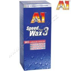 A1 Speed Wax Plus 3 250ml Dr.O.K.Wack-Rychlo vosk trvale chrání před vlivy počasí a prostředí. Intenzivně osvěží vybledlý lak. Má prémiovou kvalitu a postará se o zrcadlově vysoký lesk bez šmouh. Pomocí voskových nanočástic docílíte vysokého lesku a dlouhodobé, až šestiměsíční konzervace. Nezanechává žádné bílé stopy na umělohmotných plochách a je vhodný pro všechny druhy laku (metalické a normální laky, ale také nano- a otěruvzdorné laky). Používá se na nové laky nebo na laky předem ošetřené prostředkem A1 Speed Polish nebo A1 Ultra Clean & Polish. Neobsahuje rozpouštědla a šetří tak životní prostředí. Speciální houbička zaručuje optimální nanášení a jednoduché zpracování. Jedno balení 250 ml vystačí na 2-3 vozy. Pro mytí a neporušení vrstvy vosku výrobce připravil A1 Autošampón, který samozřejmě také naleznete v naší nabídce.  Veškeré aktivity firmy Dr.O.K.Wack, která je na trhu již od roku 1975,  se řídí zásadním pravidlem, přinášet na trh výhradně nová řešení problému nebo výrazně zlepšovat stávající výrobky. Tuto filozofii si Dr.O.K.Wack vzal k srdci a díky tomu tak vznikají inovativní koncepty a výrobky. Do dnešního dne Dr.O.K.Wack vypracoval přes čtyřicet patentů. Kvalita a promyšlenost výrobků byla prokázána v četných nezávislých testech.  Návod na použití:  Vozidlo důkladně omyjte A1 autošampónem a osušte. Před použitím důkladně protřepejte. Přiloženou houbou nanášejte na suchou karoserii. Po nanesení nechte polituru uschnout a vyleště ji měkkou tkaninou (nepoužívejte vatu) do vysokého lesku. Nenanášejte na přímém slunci ani na rozpálený lak!