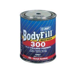 Plnič 3:1 BODYFILL 300 - 1L - šedý-Body Fill 300 dvousložkový akrylátový základový plnič vyniká dobrou přilnavostí. Lehce se brousí za sucha P320-400, nebo za mokra P600-1000, je vhodný pod všechny emaily, především pod syntetické laky, akrylátové laky a metalízy. K provádění základních a současně podkladových a plnících nátěrů pod všechny druhy laků. APLIKACE: Stříkací pistole 1,5 - 1,8 mm ŘEDIDLO: BODY ACRYL ředidlo (do 15 %) TUŽIDLO: BODY HARDENER v poměru 4:1 (25 %)   Tužidlo není součástí balení.Nutno objednat zvlášť -  objednací číslo 13936