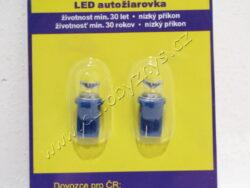 24V T10 LED 5W W2 1X9,5d modrá 2ks