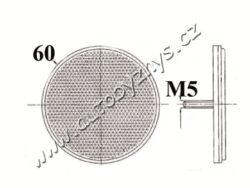 Odrazka kulatá se šroubem průměr 60mm ČERVENÁ(450)