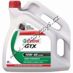 Olej motorový 10W-40 GTX A3/B4 CASTROL 5L-Castrol GTX 10W-40 A3/B4 je polosynthetický motorový olej určený pro osobní a lehké dodávkové benzínové i dieselové automobily. Poskytuje vynikající ochranu motoru.Snižuje kouřivost a spotřebu oleje.  Chraňte své auto před škodlivými kaly s Castrol GTX 10W-40 A3/B3, který obsahuje anti-kal vzorec a nabízí o 25% lepší ochranu motoru.   Splňuje specifikace: SAE 11W-40 ACEA A3/B3 API SL/CF MB-Approval 229.1 VW 501 01/505 00  FIAT 9.55535.D2