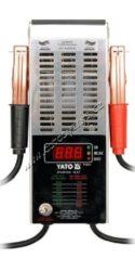 Zátěžový tester akumulátorů - digitální 12V  150-1400A YATO-Zátěžový tester pro důkladné prověření stavu autobaterie.  Pomocí zátěže 100 Ampér umožní kontrolu stavu nabití a zároveň to, do jaké míry je akumulátor opotřebovaný.  Tento tester nevyžaduje žádný napájecí zdroj (je napájen přímo z měřené autobaterie), takže jeho použití je velmi snadné a mobilní. Je osazen zátěžovým obvodem, dvěma svorkami pro připojení k akumulátoru a displejem pro zobrazení výsledku měření.  Tester umožňuje tato měření: • zběžný test akumulátoru • zátěžový test akumulátoru • test nabíjení akumulátoru • test startéru