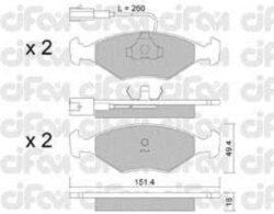 Brzdové destičky přední FIAT CIFAM-délka (v mm): 151,4 vyska ( v mm ): 49,2 tloustka/sila( v mm): 17,5 brzdovy system: Teves