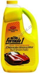 Autošampon + palmový vosk Carnauba Wash & Wax 1,9L  Formula1-Autošampon + palmový vosk Carnauba. Koncentrovaný přípravek na odstranění veškerých povrchových nečistot jako zažraný prach, zbytky hmyzu, dehtové skvrny atd. z karoserie. Obsahuje nejkvalitnější přírodní palmový vosk carnauba, který zároveň poskytuje ochranu a navrací lesk autolaku po každém omytí. Přítomná svěží ovocná vůně potěší při práci s šamponem.
