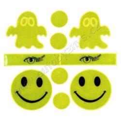 Reflexní samolepky set S.O.R.-Moderní, zábavné a především na velkou vzdálenost dobře viditelné samolepky, vhodné i pro děti. Zejména za snížené viditelnosti či v šeru několikanásobně prodlužují vzdálenost, na kterou řidič zpozoruje chodce.  Balení obsahuje 10 různých samolepek.