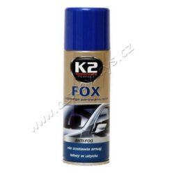 Sprej pěnový proti mlžení oken FOX 200ml K2-K2 FOX 200 ml - je přípravek proti zamlžování skel, zabraňuje zamlžování skel na několik týdnů.  Návod na použití: Důkladně umýt a osušit sklo. Přípravek důkladně protřepat a nastříkat rovnoměrně na sklo. Nechat zaschnout a vyleštit.