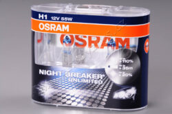 OSRAM NIGHT BREAKER UNLIMITED 64150NBU-HCB 12V H1 55W  P14,5s-NIGHT BREAKER UNLIMITED - Ideální žárovky pro řidiče, kteří chtějí více světla a jezdit bezpečněji. Díky nově vyvinuté vysoce výkonné spirále a modrému ovrstvení nabízejí žárovky do světlometů řady NIGHT BREAKER UNLIMITED.