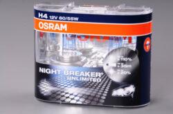 12V H4 60/55W P43t NIGHT RACER 110 blistr OSRAM-NIGHT BREAKER UNLIMITED - Ideální žárovky pro řidiče, kteří chtějí více světla a jezdit bezpečněji. Díky nově vyvinuté vysoce výkonné spirále a modrému ovrstvení nabízejí žárovky do světlometů řady NIGHT BREAKER UNLIMITED.