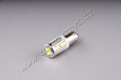 12V-24V LED 6W BaX9s čirá 10xSMD 5630-LED je nepolarizovaná - svítí i po změně plus a minus napájení. zákaz používání na veř. komunikacích (není určena pro vnější osvětlení vozidel)  10ks SMD vysoce výkonných LED typu 5630 odběr proudu při 13,8V: 0,14A rozměry: 33x12mm