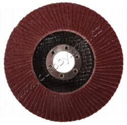 Lamelový kotouč 115mm hr.120-LAMELOVÝ KOTOUČ 115MM HR.120Zrnitost: 120; Druh Zrna: oxid hlinitý; Pojivo: umělá pryskyřice; Podkladový materiál: pružná tkanina-100% bavlna (240-260g/m2); Provedení: vyhnutý; vnitřní průměr: 22,2mm; Max. Pracovní rychlost: 80m/s; Max. přípustné otáčky: 13300 1/min