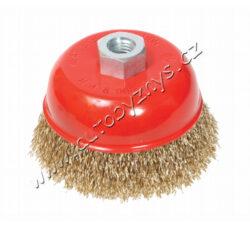 Rot.kartáč hrnkový,vlnitý 75 FESTA-Rotační kartáč - hrnkový, vlnitý drát - pomosazený o0,3mm, průměr 75mm, uchycení M14*2, počet drátů 1350, délka drátů 23mm, maximální otáčky za min. 12500, vhodný pro odstranění rzi, barvy, leštění … Kartáče FESTA zaručují kvalitní použité materiály i zpracování!