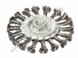 Rot.kartáč radiální,copy 115 FESTA-Vlnitý ocelový drát 0,5 mm; O 115mm; Závit M14x2mm; Pozinkované tělo kartáče; Počet drátů: 900, Délka drátu:27mm; Max. přípustné otáčky: 12500 1/min; Použití: odstranění barvy, rzi, otřepů, zbytků po svařovení, strusky, zdrsňování, čištění kovoých součástí.