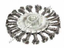 Rot.kartáč radiální,copy 150 FESTA-Vlnitý ocelový drát 0,5 mm; O 150mm; Závit M14x2mm; Pozinkované tělo kartáče; Počet drátů: 1800, Délka drátu:34mm; Max. přípustné otáčky: 9000 1/min; Použití: odstranění barvy, rzi, otřepů, zbytků po svařovení, strusky, zdrsňování, čištění kovoých součástí.