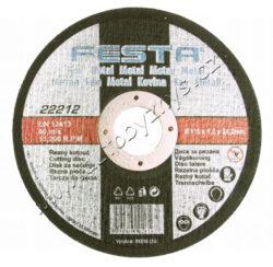 Kotouč řezný kov 115x1x22.2 FESTA-Druh Zrna: Korund; Pojivo: Syntetické pryskyřice na bázi aldehydu; Provedení: rovný; Max. Pracovní rychlost: 80m/s; Max. přípustné otáčky: 13300 1/min; Pro zvýšení pevnosti armováno dvouvrstvou sklotextilní vložkou.