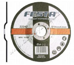 Kotouč brusný kov 125x6.4x22.2 FESTA-Druh Zrna: Korund; Pojivo: Syntetické pryskyřice na bázi aldehydu; Provedení: Vyhnutý; Max. Pracovní rychlost: 80m/s; Max. přípustné otáčky: 13300 1/min; Pro zvýšení pevnosti armováno třívrstvou sklotextilní vložkou.