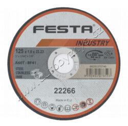 Kot.řezný kov 125x1x22.2 FESTA INDUSTRY-Profesionální řezný kotouč na kov, litinu, NEREZ, vyrobeno v EVROPĚ!, řada kotoučů FESTA INDUSTRY je, jak již z názvu vyplývá určena zejména pro profesionální použití, kvalita ověřená reálnými zkouškami zaměřenými na počet a rychlost řezů. Druh zrna - KORUND, pojivo - syntetické pryskyřice na bázi aldehydu, provedení - ROVNÝ, max. pracovní rychlost - 80 m/s, max. přípustné otáčky - 12200 ot/min, PRO ZVÝŠENÍ PEVNOSTI ARMOVÁNO DVOUVRSTVOU SKLOTEXTILNÍ VLOŽKOU! KOTOUČE FESTA INDUSTRY SPLNUJÍ EN 12413 a homologaci OSA!