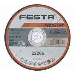 Kot.řezný kov 180x2.5x22.2 FESTA INDUSTR-Profesionální řezný kotouč na kov, litinu, NEREZ, vyrobeno v EVROPĚ!, řada kotoučů FESTA INDUSTRY je, jak již z názvu vyplývá určena zejména pro profesionální použití, kvalita ověřená reálnými zkouškami zaměřenými na počet a rychlost řezů. Druh zrna - KORUND, pojivo - syntetické pryskyřice na bázi aldehydu, provedení - ROVNÝ, max. pracovní rychlost - 80 m/s, max. přípustné otáčky - 12200 ot/min, PRO ZVÝŠENÍ PEVNOSTI ARMOVÁNO DVOUVRSTVOU SKLOTEXTILNÍ VLOŽKOU! KOTOUČE FESTA INDUSTRY SPLNUJÍ EN 12413 a homologaci OSA!