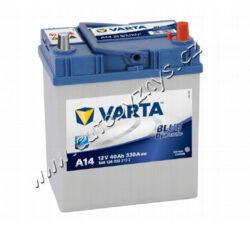 Autobaterie 12V/40Ah 330A VARTA Blue dynamic (Asia typ)-TYP BATERIE: Bezúdržbová baterie   TECHNICÉ SPECIFIKACE  VARTA 5401260333132 napeti [V]: 12 kapacita baterie v Ah: 40 startovací proud, test za studena dle EN (v A): 330 razeni polu: 0 druh zásuvky: 3 způsob upevnění, spodní provedení: B00 délka (v mm): 187 Sirka v mm: 127 vyska ( v mm ): 227