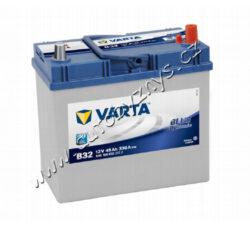 Autobaterie 12V/45Ah 330A VARTA Blue dynamic (Asia typ)-TYP BATERIE: Bezúdržbová baterie   TECHNICÉ SPECIFIKACE  VARTA 5451560333132 napeti [V]: 12 kapacita baterie v Ah: 45 startovací proud, test za studena dle EN (v A): 330 razeni polu: 0 druh zásuvky: 1 způsob upevnění, spodní provedení: B00 délka (v mm): 238 Sirka v mm: 129 vyska ( v mm ): 227