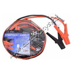 Kabely startovací  25mm2 3,5m TÜV/GS DIN72553-Tyto startovací kabely jsou určeny pro nouzové startování vozidel s benzinovým motorem do objemu 5500 cm3 nebo s naftovým motorem do 3000 cm3. Délka 3,5 metru, vodivostí odpovídá měděnému kabelu o průměru 25 mm2.  Vysoce kvalitní startovací kabely odpovídají požadavkům evropské normy DIN 72553-25 a jsou způsobilé pro napětí od 12V do 24V. Kabely jsou vyrobeny z mědí potažených hliníkových kabelů, které jsou izolovány a vybaveny kompletně izolovanými kleštěmi pro připojení k akumulátoru.